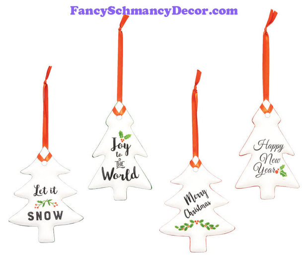 Christmas Tree Greeting Ornament Hanger 4 Asst.