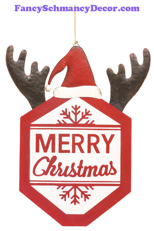 Christmas Antler Santa Sign