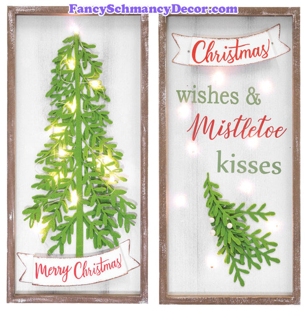 Mistletoe Christmas Wishes Light-Up Hanger 2 Asst.