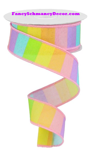 "1.5"" X 10 yd Horizontal Rainbow On Royal Wired Ribbon"