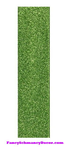 "1.5"" X 10 yd Apple Green Vintage Glitter Wired Ribbon"
