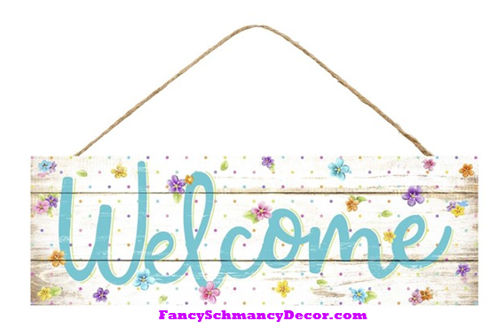 "15"" L X 5"" H Welcome W/Flowers/Dots Sign"