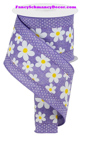 "4"" X 10 yd 3 In 1 Daisy/Swiss Dots Lavender/White/Yellow Wired Ribbon"