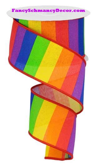"2.5"" X 10 yd Horizontal Rainbow On Royal Wired Ribbon"