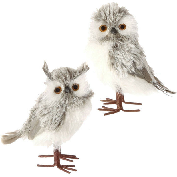 "OWL WHITE/GREY 5.5"" RAZ Imports - FancySchmancyDecor"