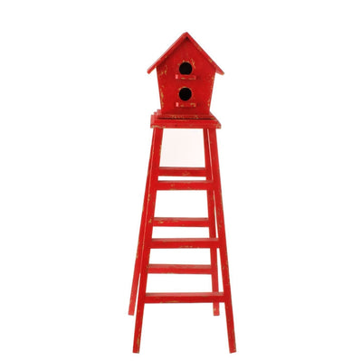 "32"" Red Birdhouse Ladder - RAZ Imports - FancySchmancyDecor"