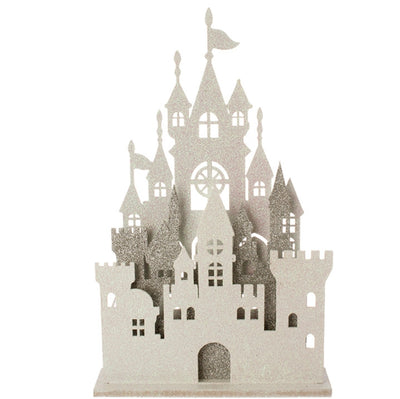 "Lighted Castle - white/silver 16.5"" RAZ Imports - FancySchmancyDecor"