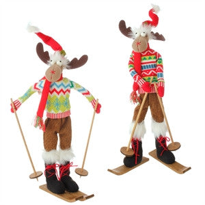 "Moose Skiing 21"" Posable RAZ Imports - FancySchmancyDecor"