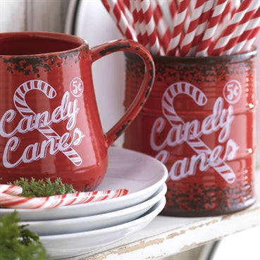 "5"" ""Candy Cane"" Bucket by Raz Imports"