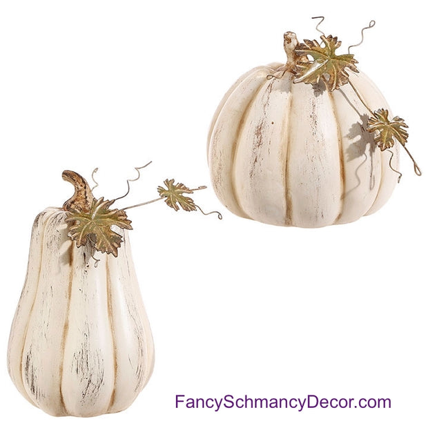 "10"" Pumpkin with Leaf by Raz Imports"