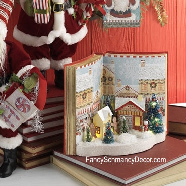 Peppermint Kitchen Lighted Gingerbread Christmas Book Scene Decoration by Raz Imports