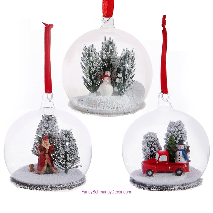 "4"" Dome Santa Truck Tree Ornament by Raz Imports"