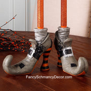 "7.5"" Witch Shoe Boot Taper Candle Holders Set of 2 by Raz Imports"