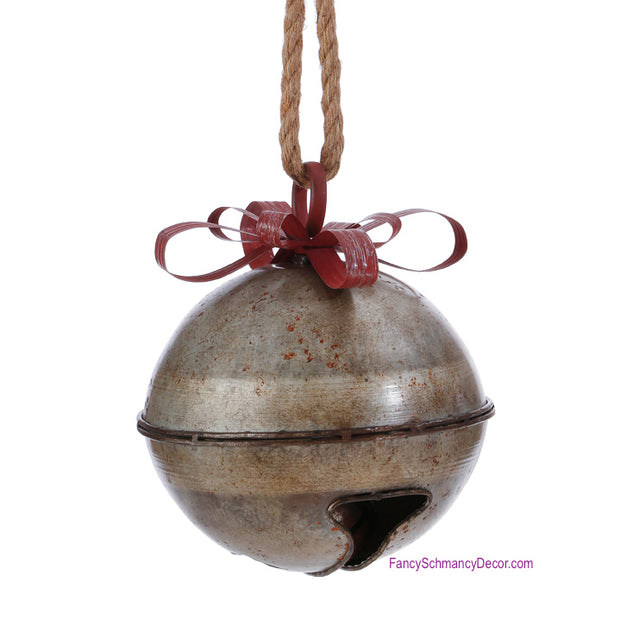"9"" Galvanized Bell with Ribbon by Raz Imports"