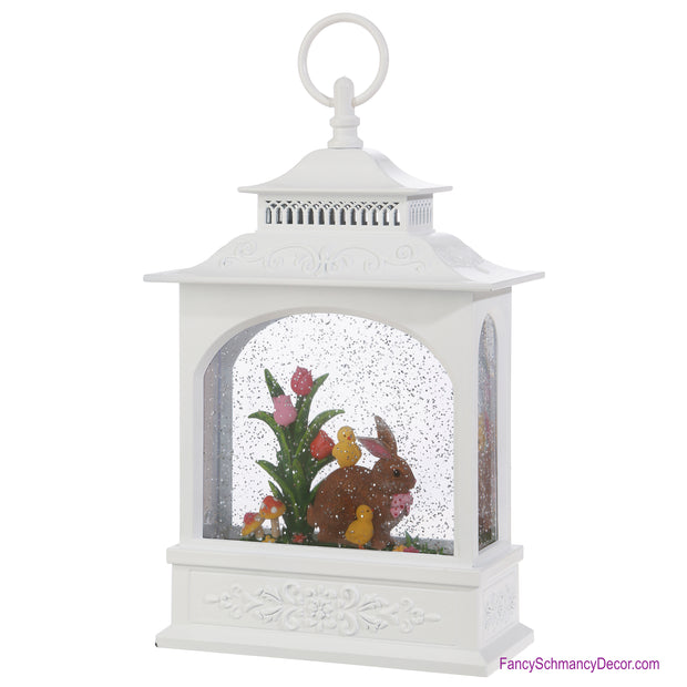 "11.5"" Rabbit and Tulip Lighted Water Lantern"
