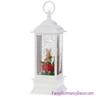"11.5"" Rabbit in Wagon Lighted Water Lantern"