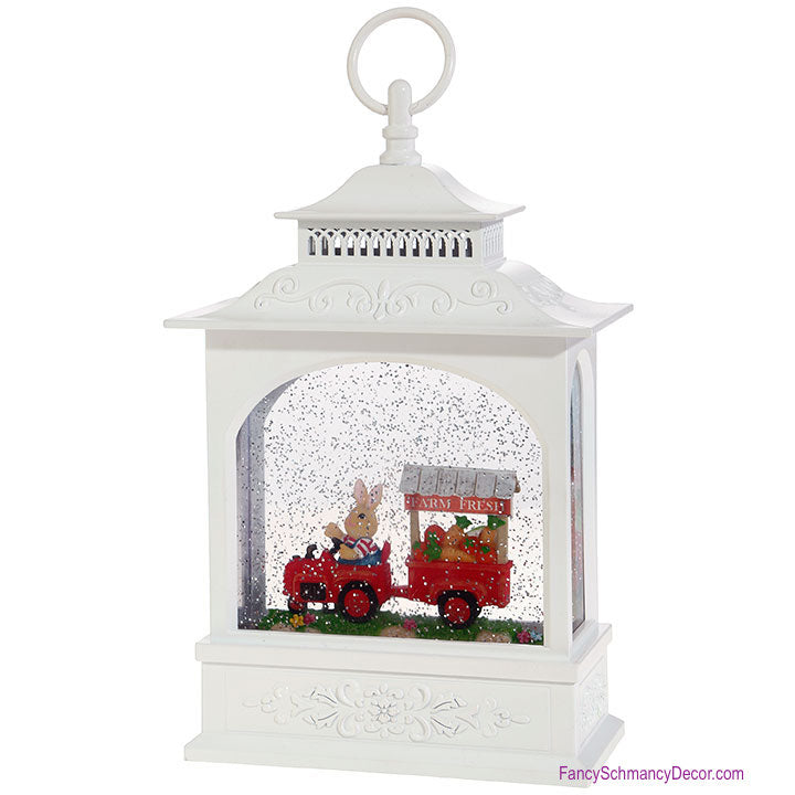 "11"" Rabbit with Farm Cart Lighted Water Lantern"