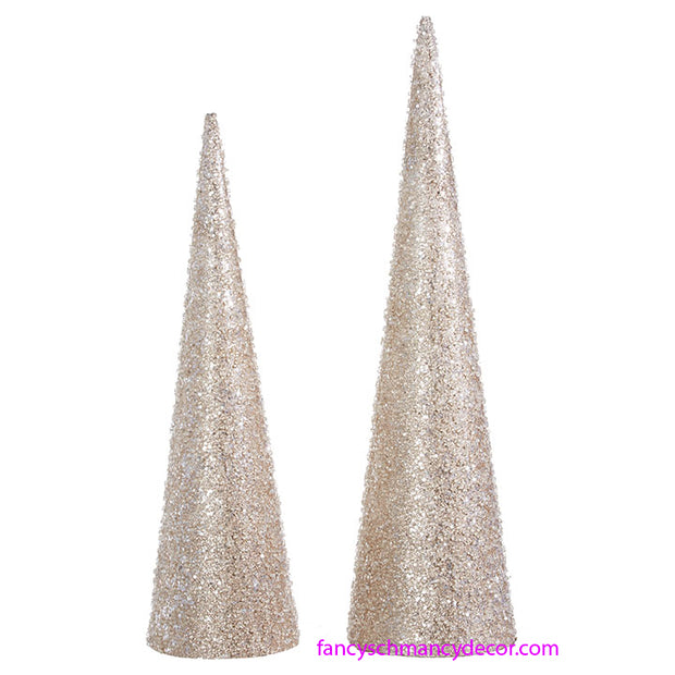 Set of 2 Iced Cone Trees by RAZ Imports