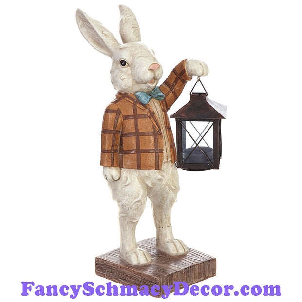 "13"" Rabbit with Lantern by RAZ Imports"