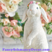 "12"" Bunny with Flowers on Head by RAZ Imports"