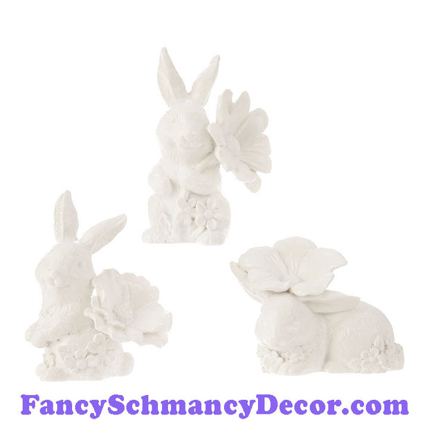 "3"" Bunnies w/ Flowers Assorted Set of 3 by RAZ Imports"