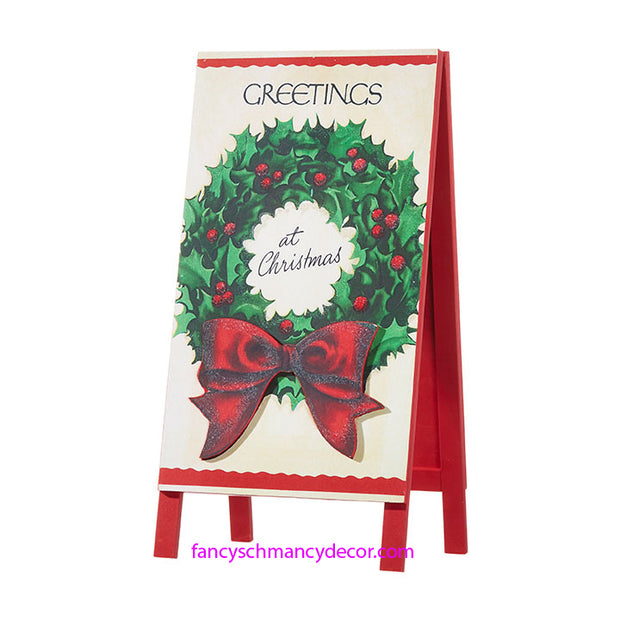Greetings at Christmas Sandwich Board by RAZ Imports