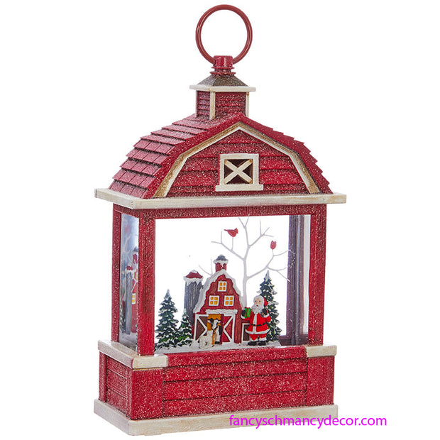 Santa Lighted Water Barn Lantern by RAZ Imports
