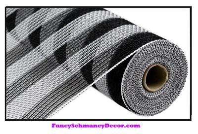 "10.5"" X 10 yd Faux Jute/Pp Small Black and White Stripe Mesh"