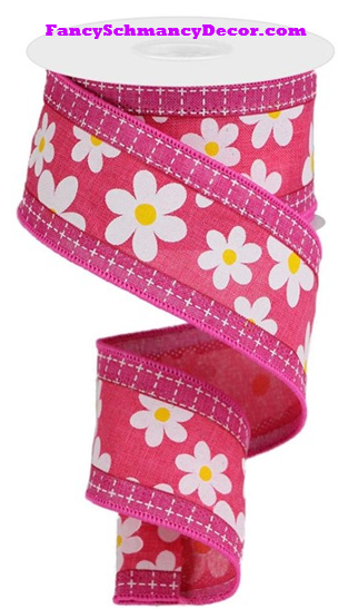 "2.5"" X 10 yd 3 In 1 Daisy/Squares Hot Pink/White/Yellow/Fuschia Wired Ribbon"
