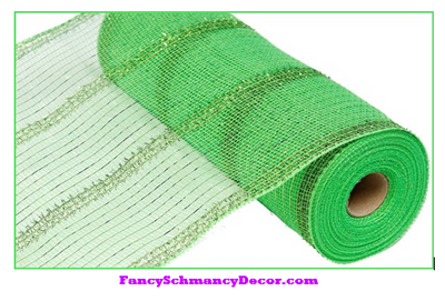 "10.5"" X 10 yd Wide Lime Green Tinsel/Pp/Foil Mesh"