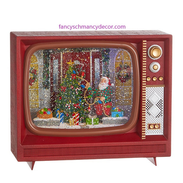 "10"" Santa Decorating Tree Musical Lighted Water TV by RAZ Imports"