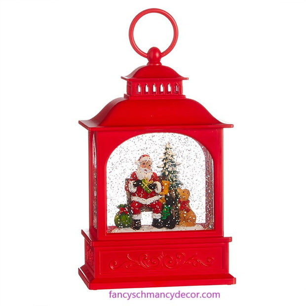 "8.5"" Dogs Visiting Santa Lighted Water Lantern by RAZ Imports"