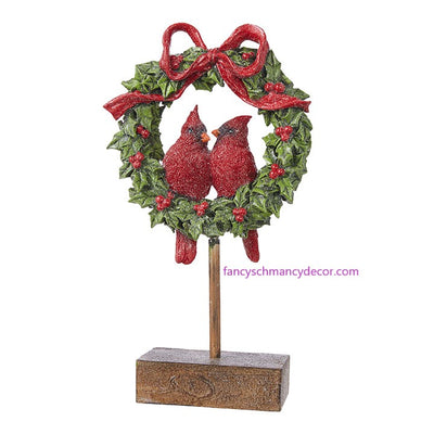 "12.5"" Cardinals in Wreath by RAZ Imports"