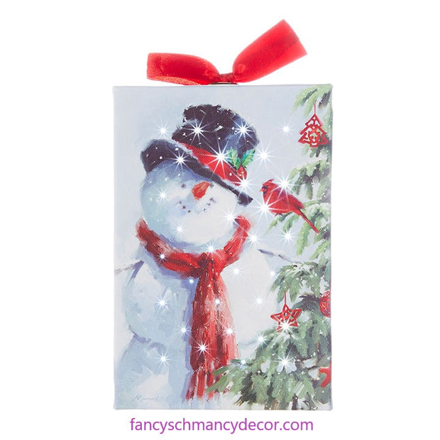 "6"" Snowman with Cardinal Lighted Print Ornament by RAZ Imports"