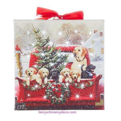 "6"" Labradors in Truck Lighted Print Ornament with Easel Back by RAZ Imports"