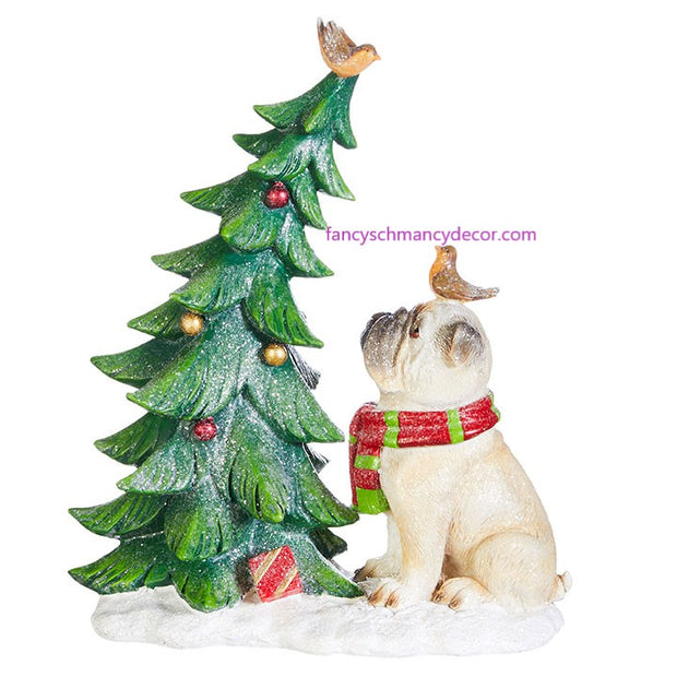 "11.25"" Dog with Christmas Tree by RAZ Imports"