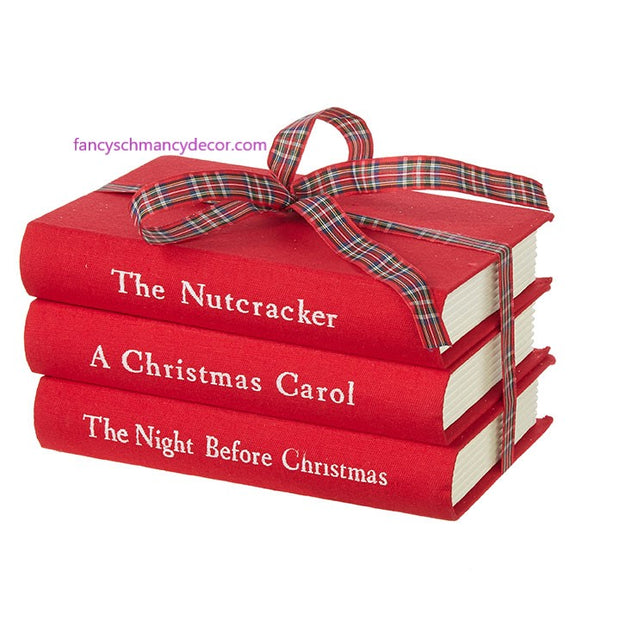 "8"" Red Stacked Christmas Books by RAZ Imports"