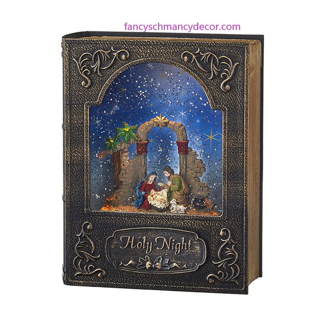 "8.5"" Holy Night Music Lighted Water Book by RAZ Imports"