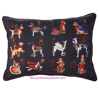 "21"" Twelve Dogs of Christmas Pillow by RAZ Imports"