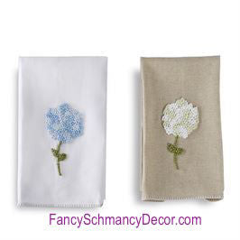 Hydrangea French Knotted Hand Towels by Mud Pie - FancySchmancyDecor