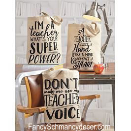 Canvas Teacher Tote by Mud Pie - FancySchmancyDecor - 1