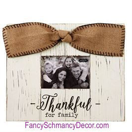 Thankful for Family Pine Frame by Mud Pie - FancySchmancyDecor