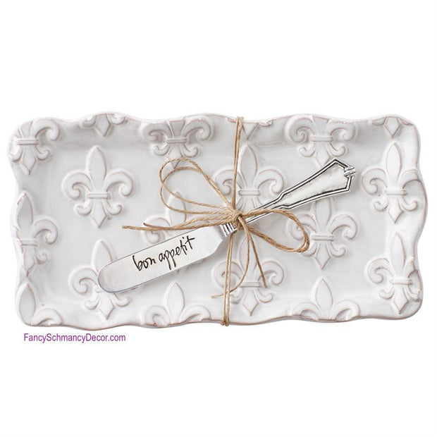 Fleur De Lis Butter Dish Set by Mud Pie