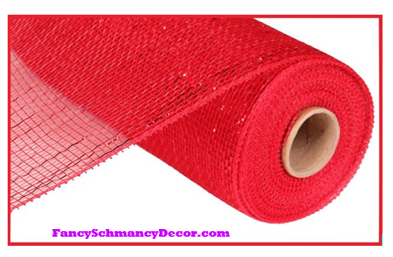 "10"" X 10 yd Metallic Red W/Red Foil Mesh"