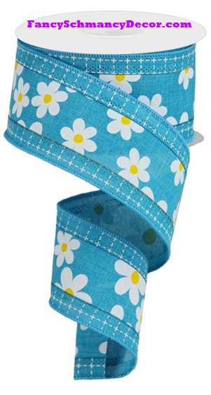 "2.5"" X 10 yd 3 In 1 Daisy/Squares Turquoise/White/Yellow Wired Ribbon"