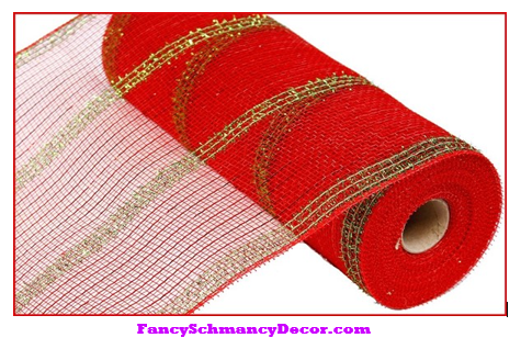 "10.5"" X 10 yd Wide Red Lime Green Tinsel/Pp/Foil Mesh"