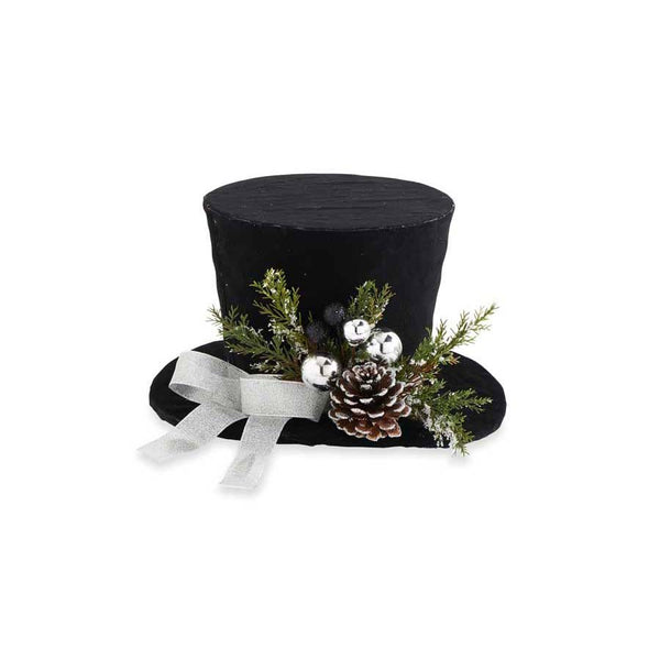 Holiday - Black Top Hat with Pinecones - FancySchmancyDecor