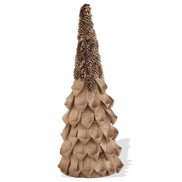 Holiday - Gold Glitter Linen Loop Topiary with Pinecone Top - FancySchmancyDecor