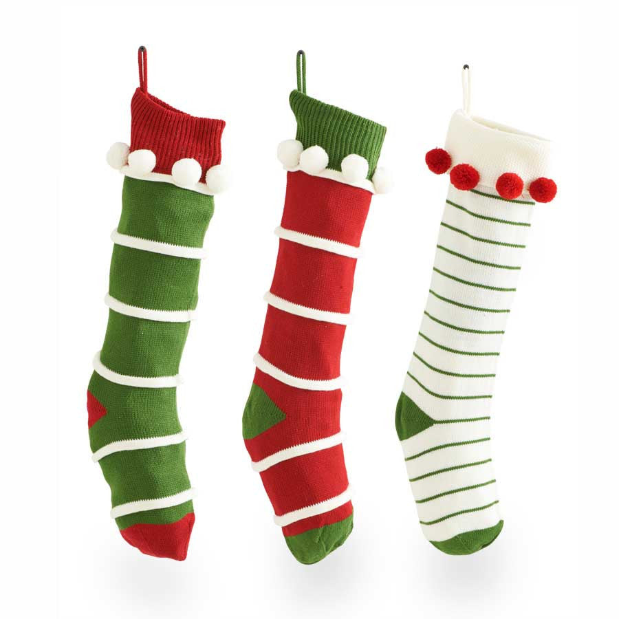 Holiday - Striped Stocking - FancySchmancyDecor