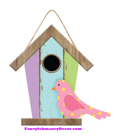 Birdhouse W/Bird Sign
